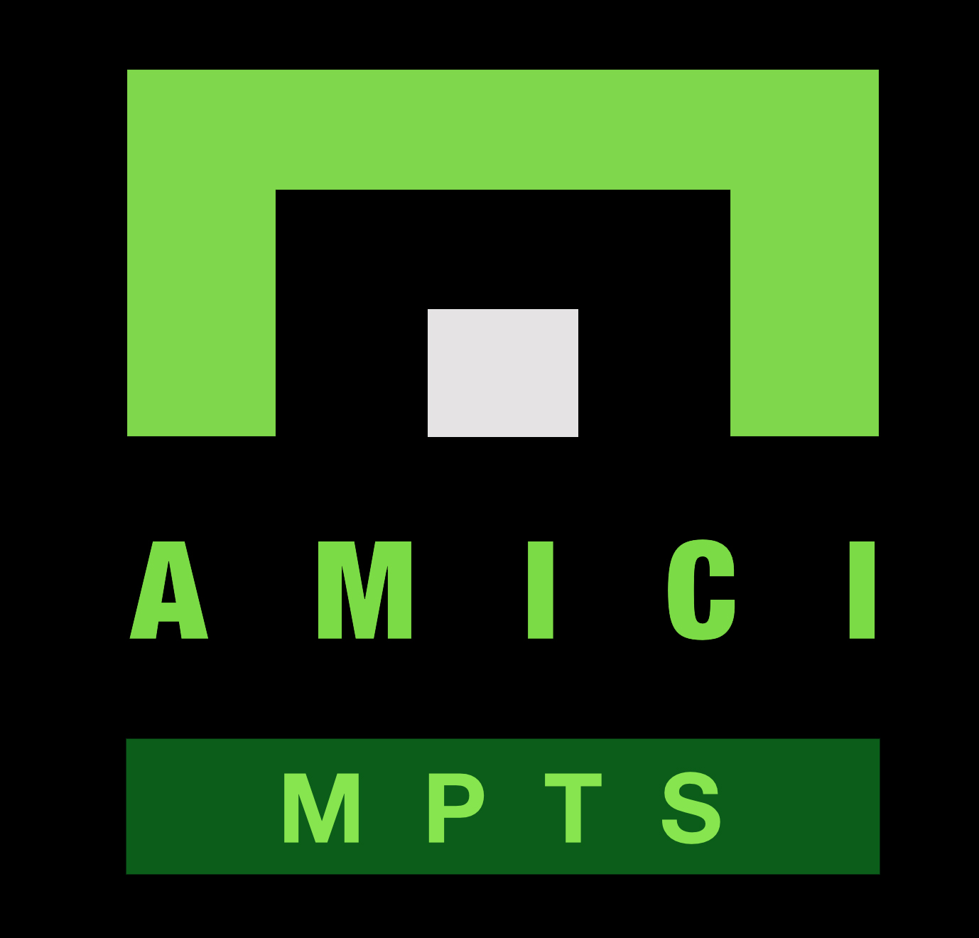 Amici MPTS Logo - White DOT - Black Background